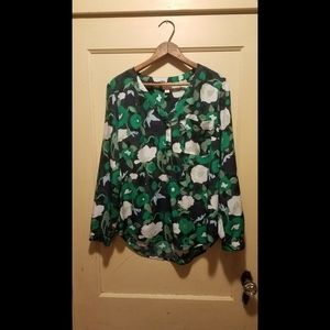Flowy green floral blouse